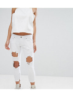 Liquor&Poker Petite Skinny Jeans With Extreme Distressing Ripped Knees - White
