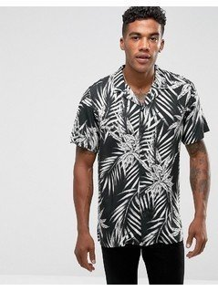 Pull&Bear Regular Fit Shirt With Revere Collar In Black Leaf Print - Black