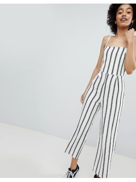 Bershka stripe wide leg jumpsuit in cream - White