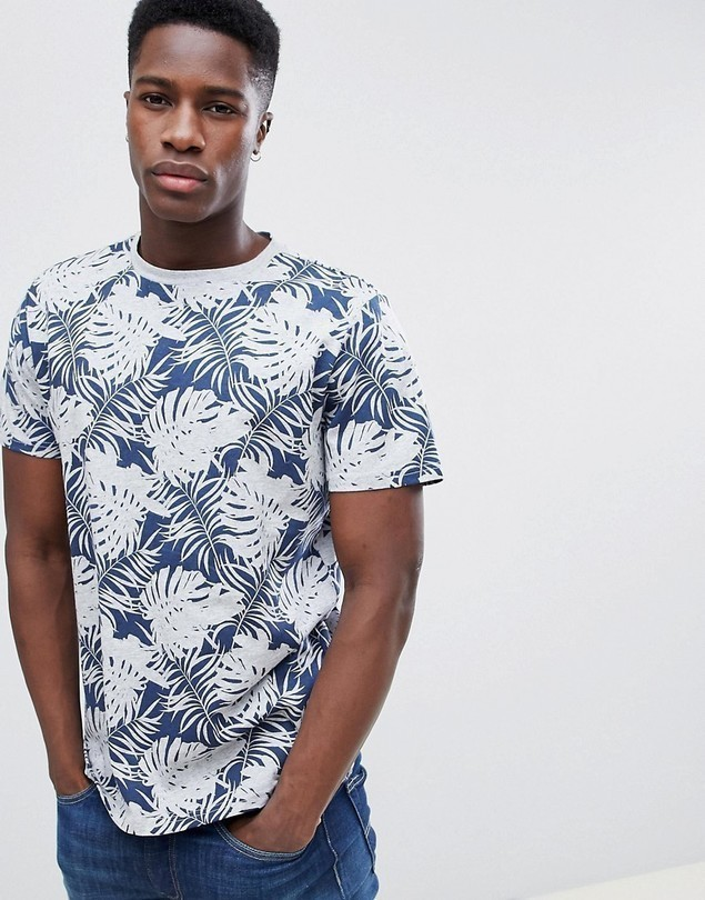 Gandy's Navy Palm Print T- Shirt - Navy