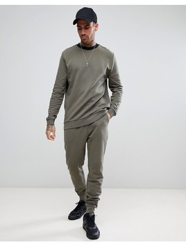 ASOS Tracksuit Sweatshirt / Skinny Jogger In Khaki With Contrast Ringer And Waistband - Green
