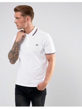 Fred Perry Slim Fit Polo With Twin Tipped In White - White