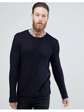 ASOS Cable Knit Jumper In Navy - Navy