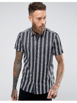 ASOS Regular Fit Viscose Stripe Shirt in Black - Blue