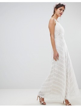 Minuet Racer Neck Maxi Dress With All Over Lace Detail - White