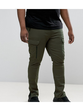 ASOS PLUS Super Skinny Fit Trousers with Zip Cargo Pockets in Khaki - Green