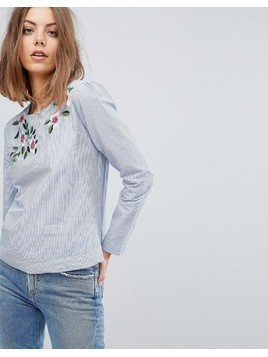 Esprit Embroidered Stripe Blouse - Blue