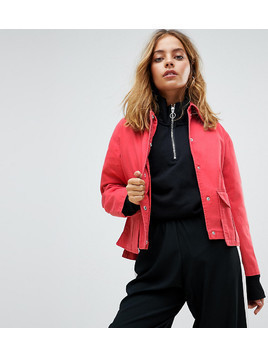 ASOS PETITE Washed Cotton Jacket - Red