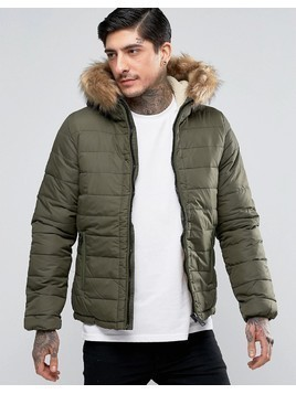 Schott Quilted Padded Hooded Jacket Detachable Faux Fur Trim - Green