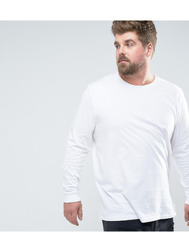 ASOS PLUS Longline Long Sleeve T-Shirt With Crew Neck - White