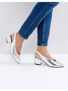 Truffle Collection High Topline Sling Mid Heel Shoes - Silver