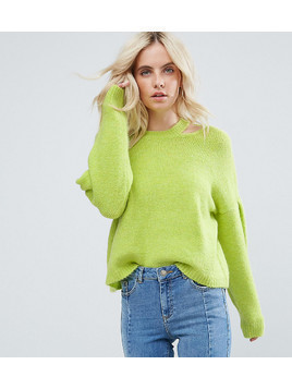 ASOS PETITE Jumper with Volume Sleeve and Cut Out Neck - Yellow