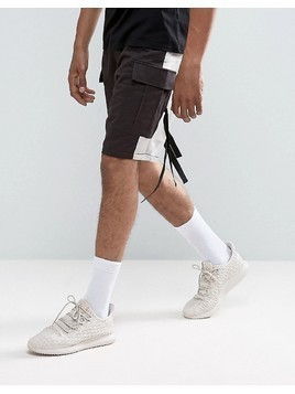 ASOS Drop Crotch Shorts With Contrast Panels And Strapping Detail - Black