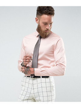 ASOS Wedding Skinny Sateen Shirt In Pink with Charcoal Tie SAVE - Pink