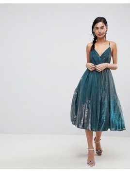 ASOS Metallic Tulle Midi Dress - Blue