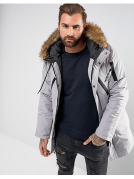 Nicce London Parka In Grey With Faux Fur Hood - Grey