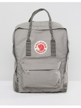 Fjallraven Kanken in Fog Grey with Contrast Stripe Top Handle and Straps - Grey
