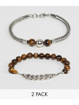 ALDO Beaded&Chain Bracelets In 2 Pack - Brown