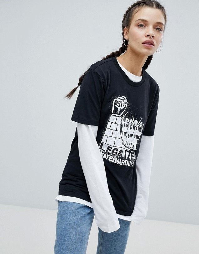 adidas Skateboarding Oversized T-Shirt With Legalise Logo - Multi