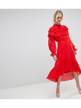 Yas Tall Gaho Tiered Ruffle Maxi Dress With Pussybow Collar - Red