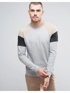 Casual Friday Sweatshirt With Raglan Sleeve Panels - Grey