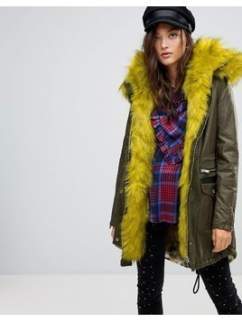 River Island Faux Fur Lined Parka Coat - Green