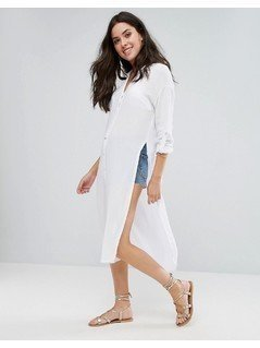 New Look Longline Shirt Beach Dress - White