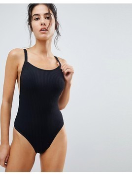 Seafolly Square Neck Ribbed Swimsuit - Black