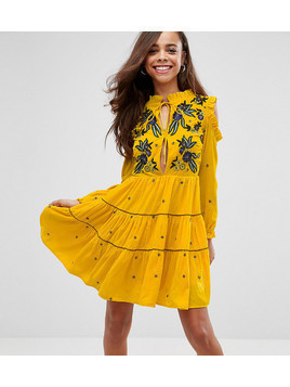 Frock And Frill Petite Cold Shoulder Velvet Smock Dress With Floral Embroidery - Yellow