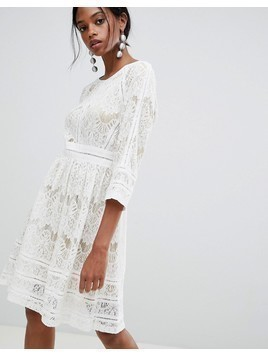 Liquorish Lace Skater Dress - White