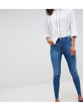 Parisian Tall Frayed Hem Skinny Jeans - Blue