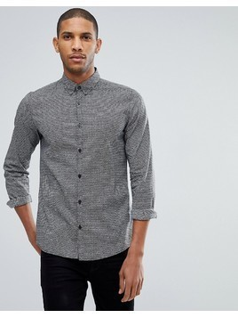 Tom Tailor Fitted Shirt With Monochrome Print - Black