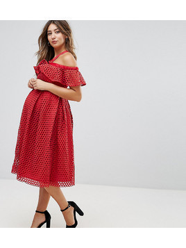 ASOS Maternity Lace Cold Shoulder Midi Dress - Red