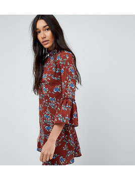 Parisan Tall High Neck Floral Dress With Flare Sleeve - Red