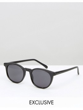 Reclaimed Vintage Inspired Round Sunglasses In Black - Gold