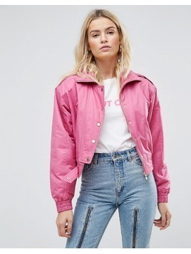 ASOS 80's Bomber Jacket in Hot Pink - Pink