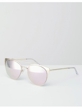 Quay Australia Tell Me Why Pink Mirror Metal Cat Eye Sunglasses - Gold