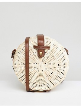 ASOS DESIGN structured straw circle cross body bag with water based pu strap - Stone