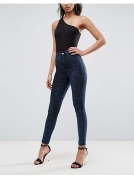 ASOS RIVINGTON High Waisted Jeans in Bennie Blackened Mottled wash - Blue