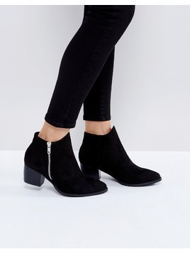 Truffle Collection Side Zip Mid Heel Boots - Black