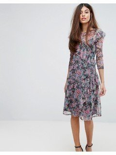 Warehouse Flower Burst Mesh Dress - Multi