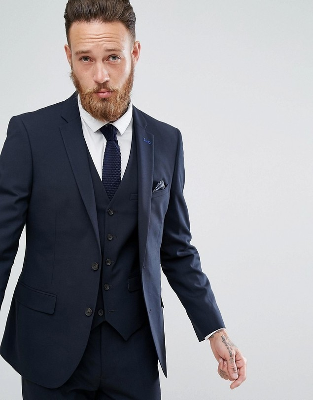 Harry Brown Plain Navy Skinny Tuxedo Suit Jacket - Navy