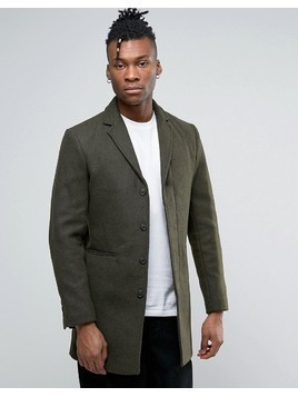 Selected Wool Mix Overcoat - Green