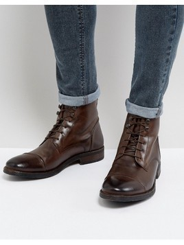Base London Clapham Leather Military Boots In Brown - Brown