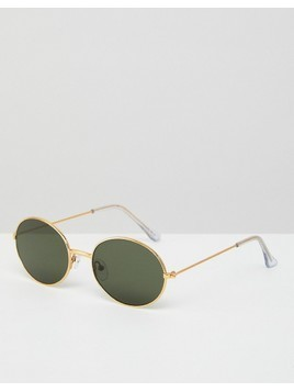 ASOS 90s Oval Metal Sunglasses In Gold - Gold