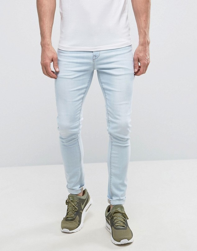 ASOS Super Skinny Jeans In Bleach Blue - Blue