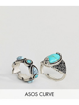 ASOS CURVE Pack of 2 Faux Turquoise Stone Rings - Silver