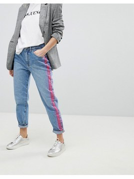 Pimkie Blue Denim Straight Jeans With Pink Side Stripe - Blue