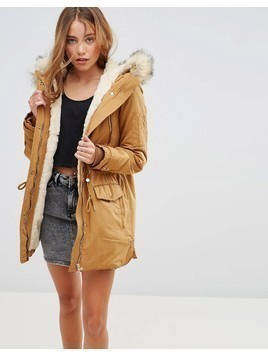 Pimkie Zip Detail Parka With Faux Fur Hood - Yellow