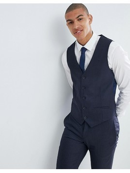 River Island Suit Waistcoat In Navy Check - Blue